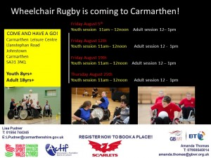 Carmarthen taster sessions August 2016